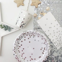 Silver Foil Confetti Paper Plates - The Sweet Hostess  - 2