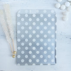 Silver Polka Dot Paper Bags - The Sweet Hostess