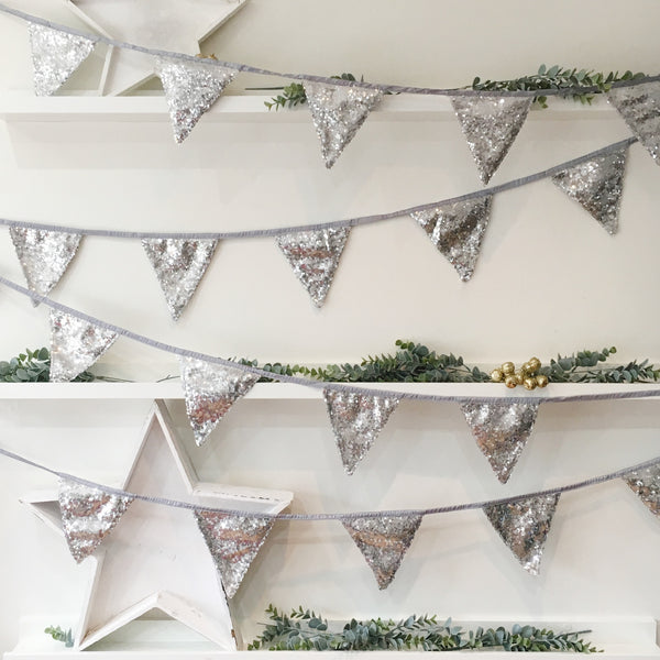 Silver Sequin Bunting