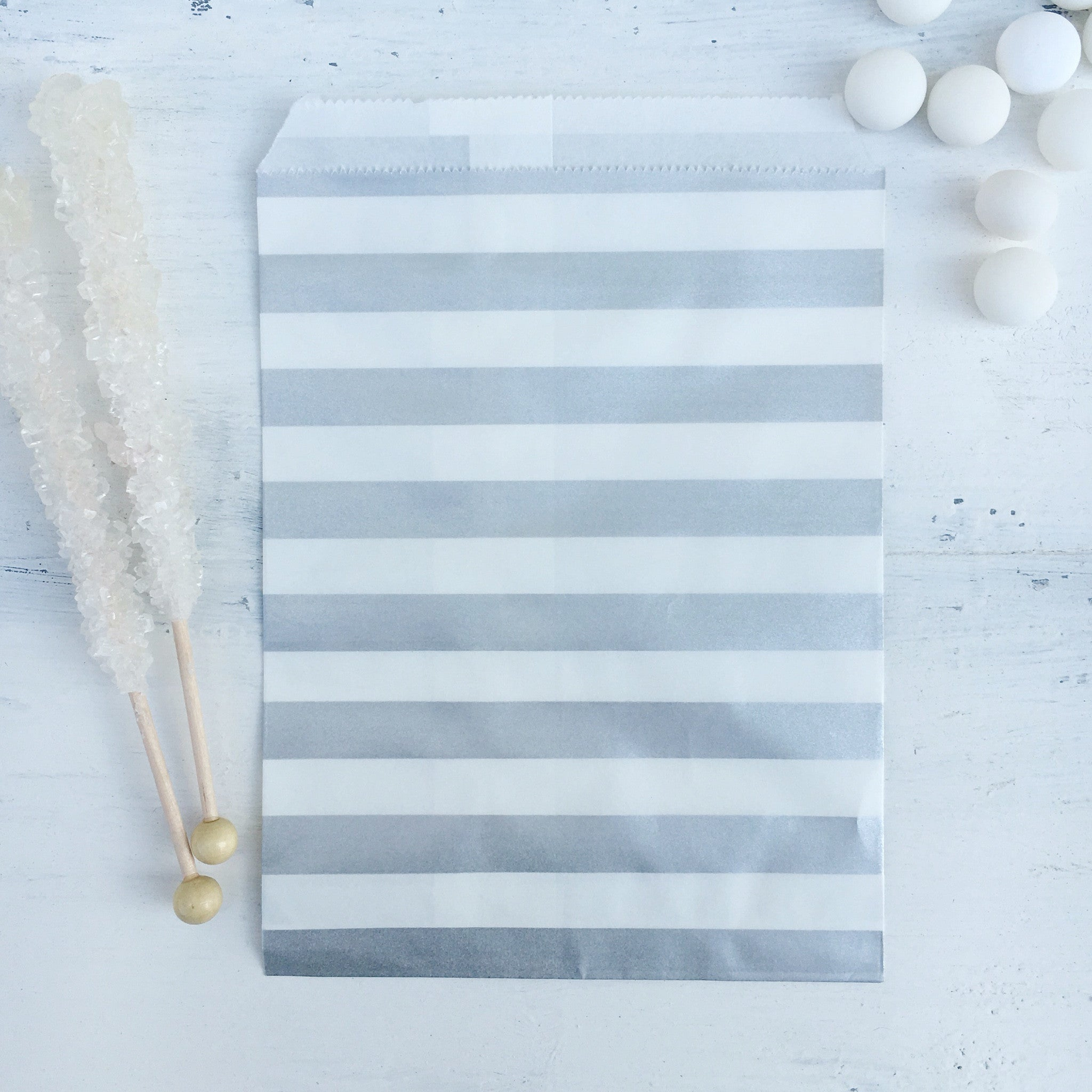 Silver Stripe Paper Bags - The Sweet Hostess