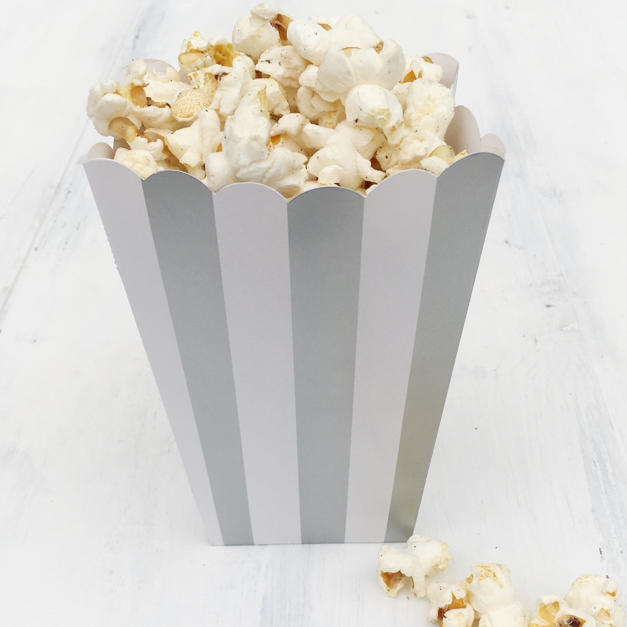 Silver Stripe Popcorn Boxes - The Sweet Hostess