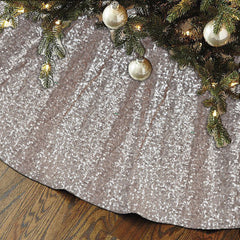 Silver Sequin Satin Lined Christmas Tree Skirt