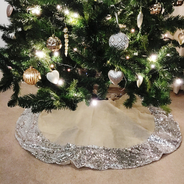 Hessian Christmas Tree Skirt with Silver Sequin Trim