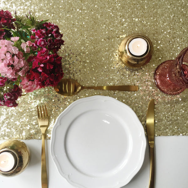 Sparkly Gold Sequin Table Runner