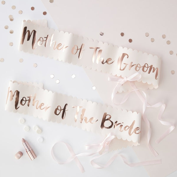 PINK AND ROSE GOLD FOILED MOTHER OF THE BRIDE GROOM SASHES - 2 PACK - TEAM BRIDE