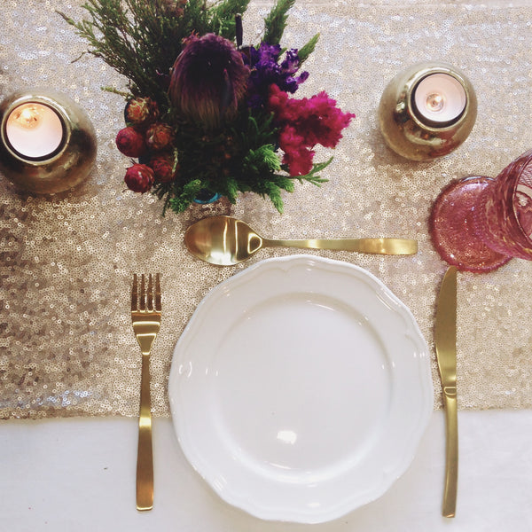 Champagne Blush Sequin Table Runner