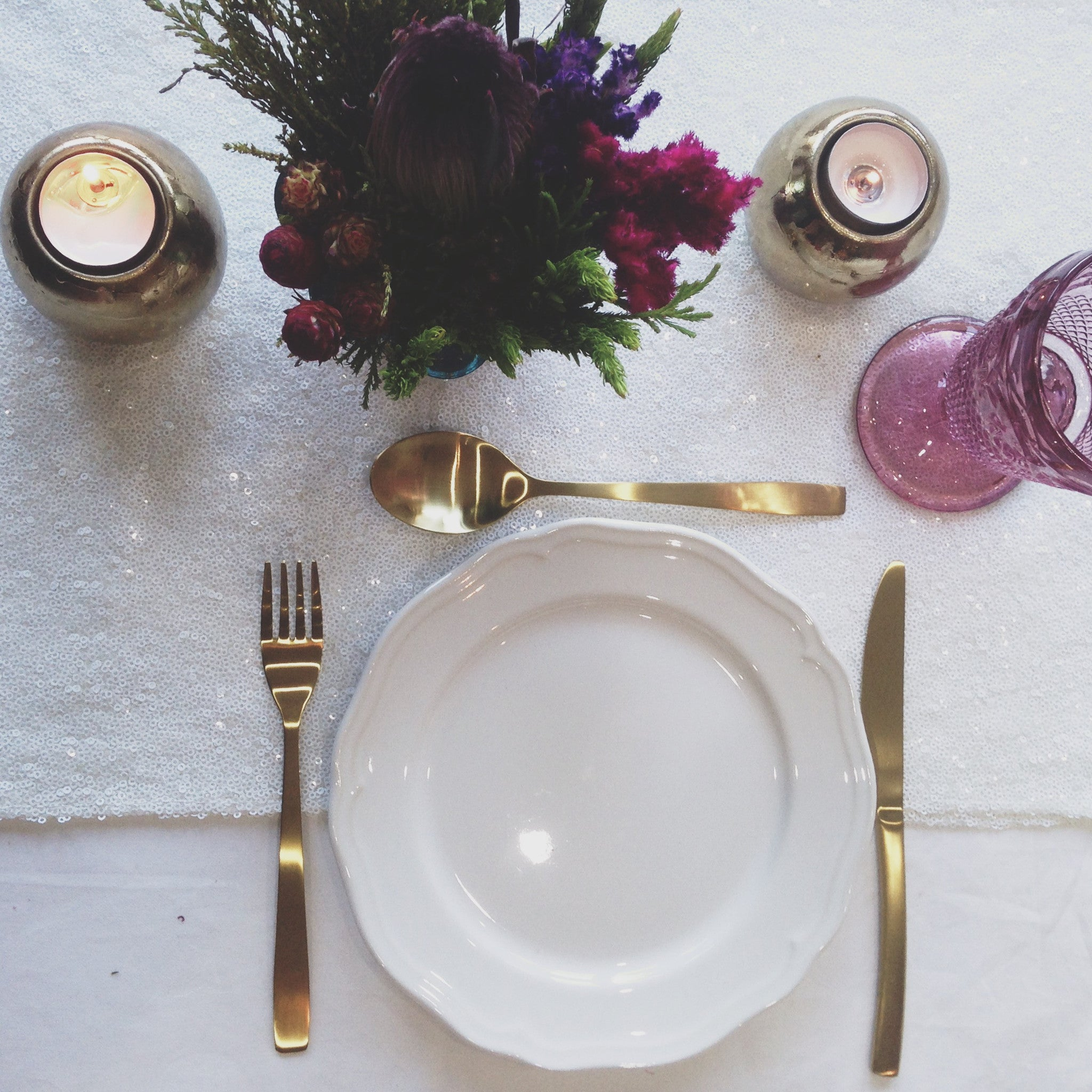 White Sequin Table Linen - The Sweet Hostess
