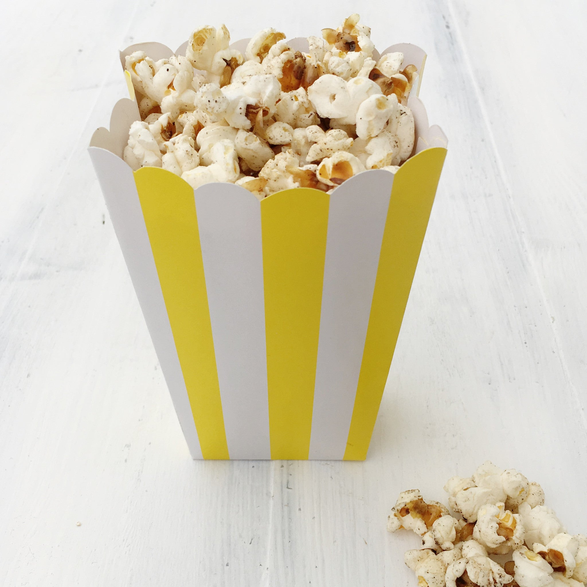 Yellow Stripe Popcorn Boxes - The Sweet Hostess