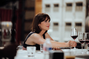 Zoeey Deschanel drinks wine at The Austin Winery for her documentary, Your Foods Roots