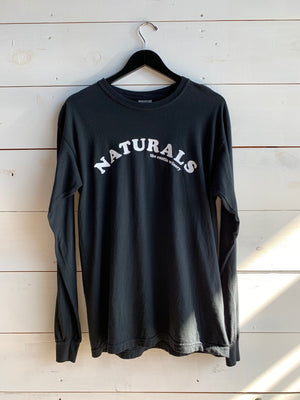 Black shirt white naturals text arc natural wine long sleeve