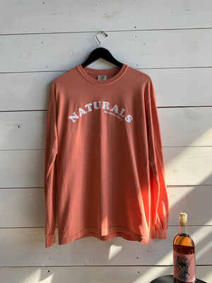 Orange melon salmon shirt white naturals text arc natural wine long sleeve