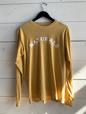 Yellow mustard shirt white naturals text arc natural wine long sleeve