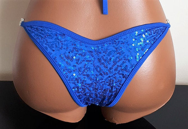 Blue NPC/IFBB/WBFF Sequins Practice Posing Competition Suit - Bikini Top