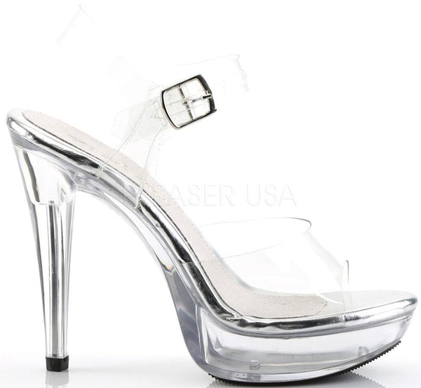 "5"" (12.7cm) Heel Sandal,  with a clear Ankle Strap and a 1"" (2.5cm) Platform Rise"