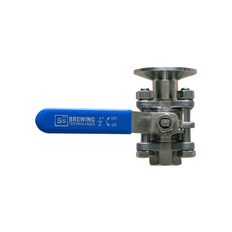 "Ss Brewtech Ball Valve 1.5"" Tri Clamp to 1/2"" Female"