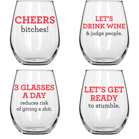 Wine Glasses - Girls' Night Out, Set of 4