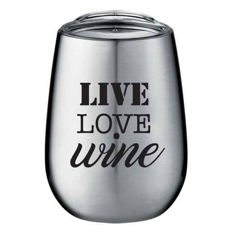 Wine Glass - Live Love Wine Silver Thermos