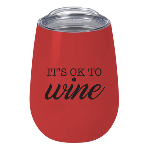Wine Glass - It's OK to Wine Red Thermos