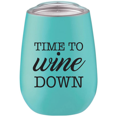 Wine Glass - Tumbler Time to Wine Down Robin Egg Blue