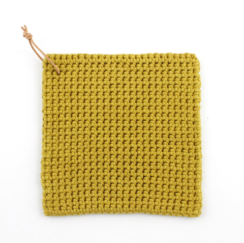 Kettle Holder Mustard Yellow, Hand Crocheted