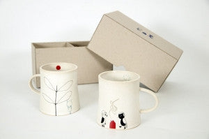 Ceramic Illustrated Cup Set in a Box
