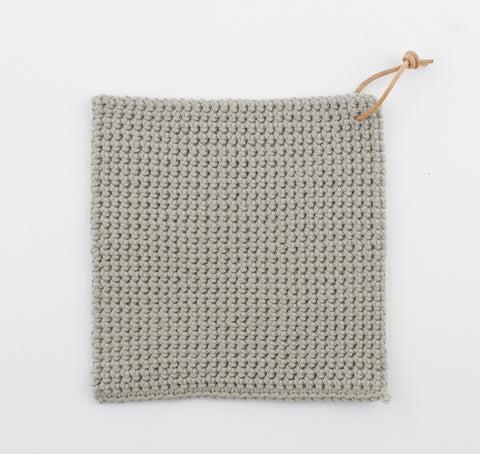 Trivet Light Grey, Hand Crocheted