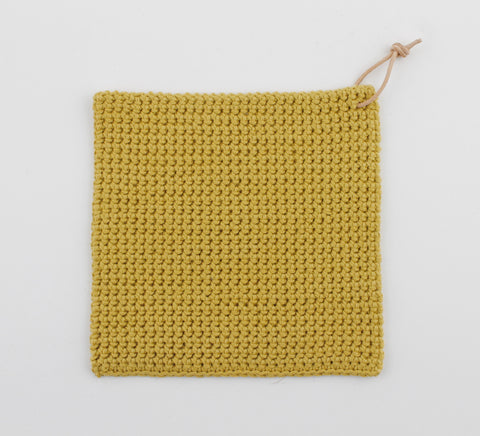 Trivet Mustard Yellow, Hand Crocheted