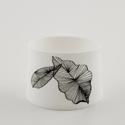 "Votive Candle Holder, ""Stripy Leaf"""
