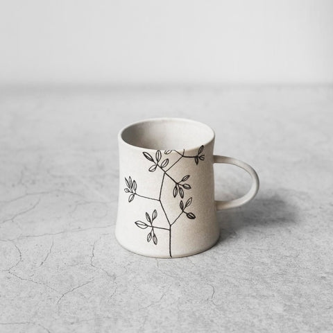 "Illustrated Black and White Ceramic Cup with Handle ""Willow"""