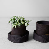 Medium Sized Charcoal Ceramic Plant Pot with Plate
