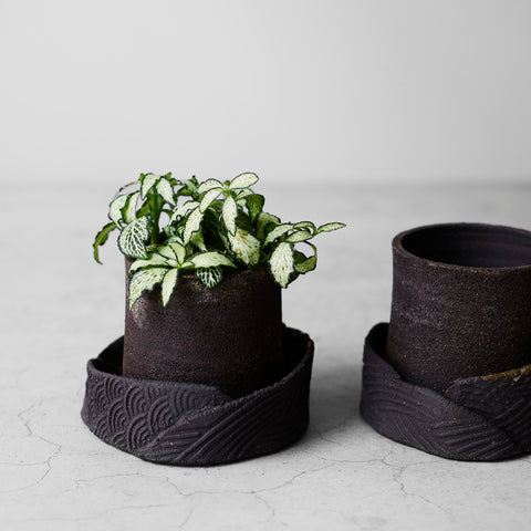 Small Flower Pot and Plate Hand Thrown in Dark Stoneware Clay