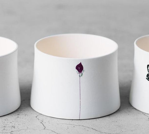 """Zen"" Ceramic Votive Candle Holder Rose Bud"