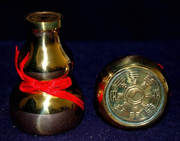 Brass Wu Lu Gourd with Bagua and Ying Yang engraved on the bottom