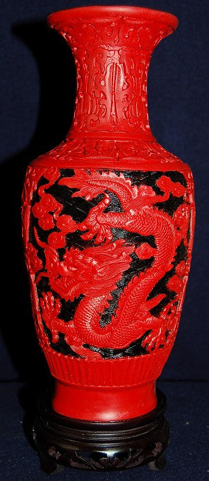 Exquisite Red and Black Cinnabar Dragon Vase