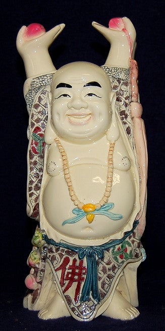 Hand Painted Hands Up Buddha Holding a Peach