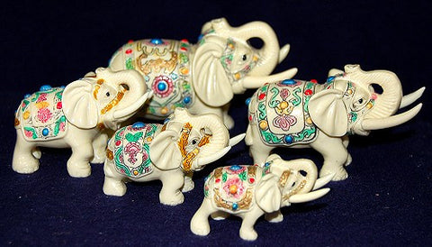 Family Herd of 5 Elephants - Hand Painted!