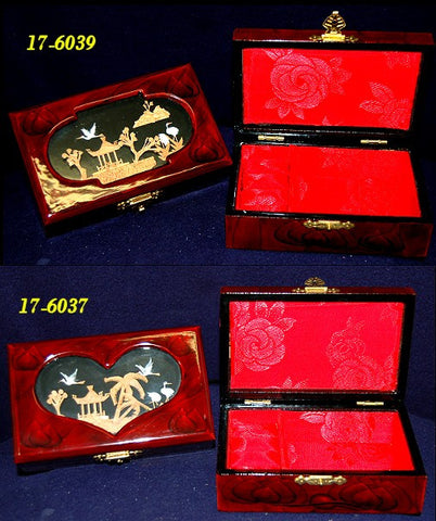 Gorgeous Wood Jewelry Boxes with Red Silk Lining
