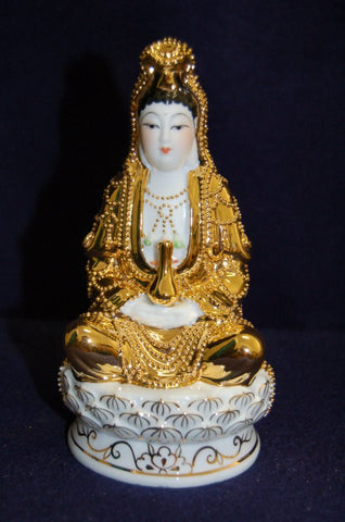 Beautiful Gold Porcelain Quan Yin