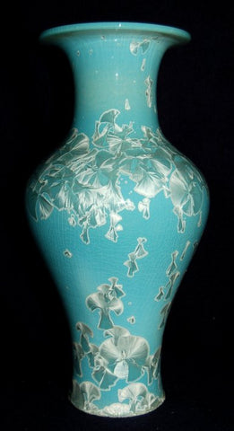Beautiful 13 inch Tall Blue-Green Korean Style Vase Wide Mouth