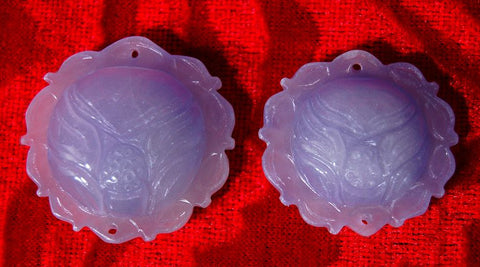 Rare White and Lavender Jade Lotus Blossom Pendant - Very Limited Quantities