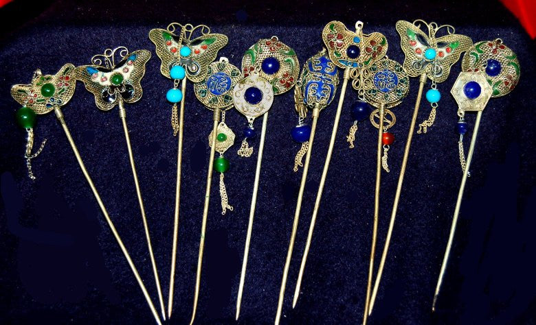 Silver & Wire Detail Chinese Hair Pins