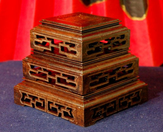 Exotic Chinese Wood set of 3 Fancy Square Display Stands