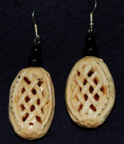 Chinese Style Earrings made from Bone with Basket Weave Design