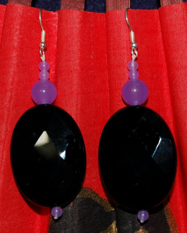 Midnight Blue Oval Faceted Stone Earrings
