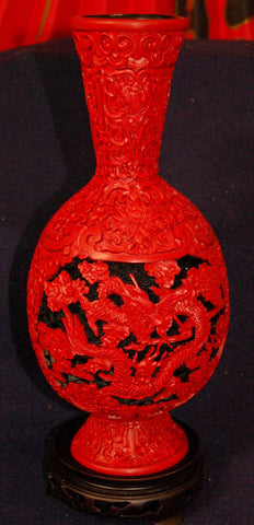 Large Cinnabar Dragon Vase with Pot Belly - Limited Quantity