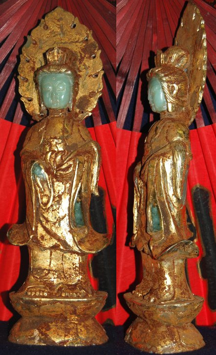Light Green Jade Standing Quan Yin covered in Gold - One ONLY!