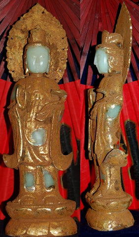 Light Green Jade Standing Quan Yin with Fan Headdress covered in Gold - One ONLY!