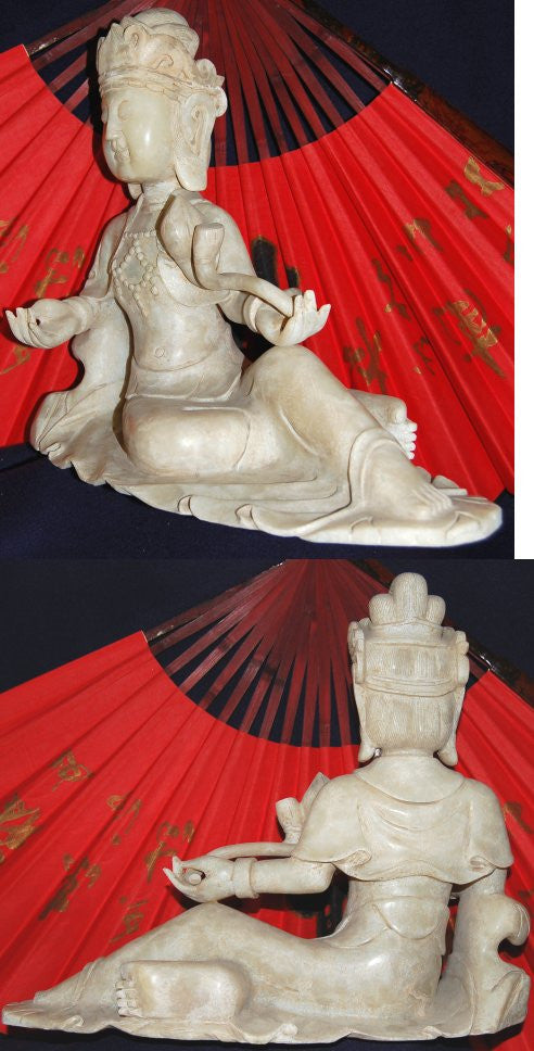 Rare Large White Jade Reclining Quan Yin - One Only!