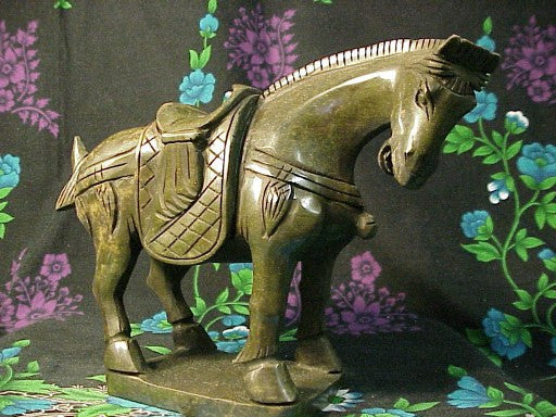 Green Jade Horse Standing - Medium Size
