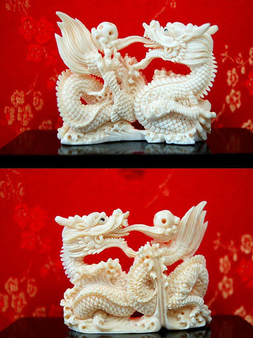 Mammoth Tooth Ivory Dragon Holding Puzzle Ball - One Only!